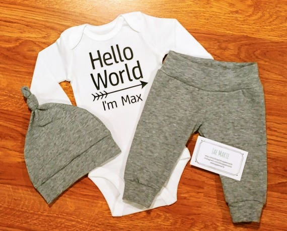 Personalized HELLO WORLD baby boy coming home outfit custom  d15492d54480