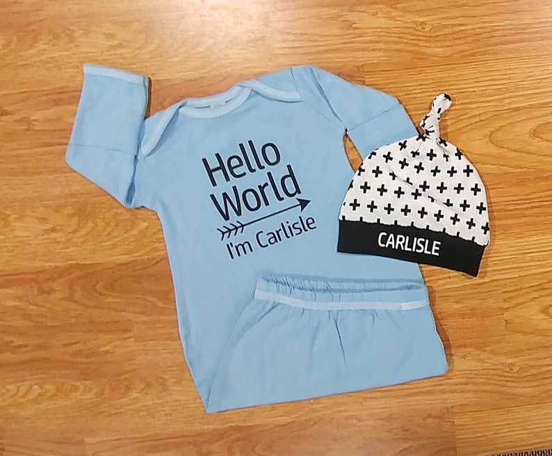c4d5c60df1a Personalized Hello World gown baby boy coming home outfit