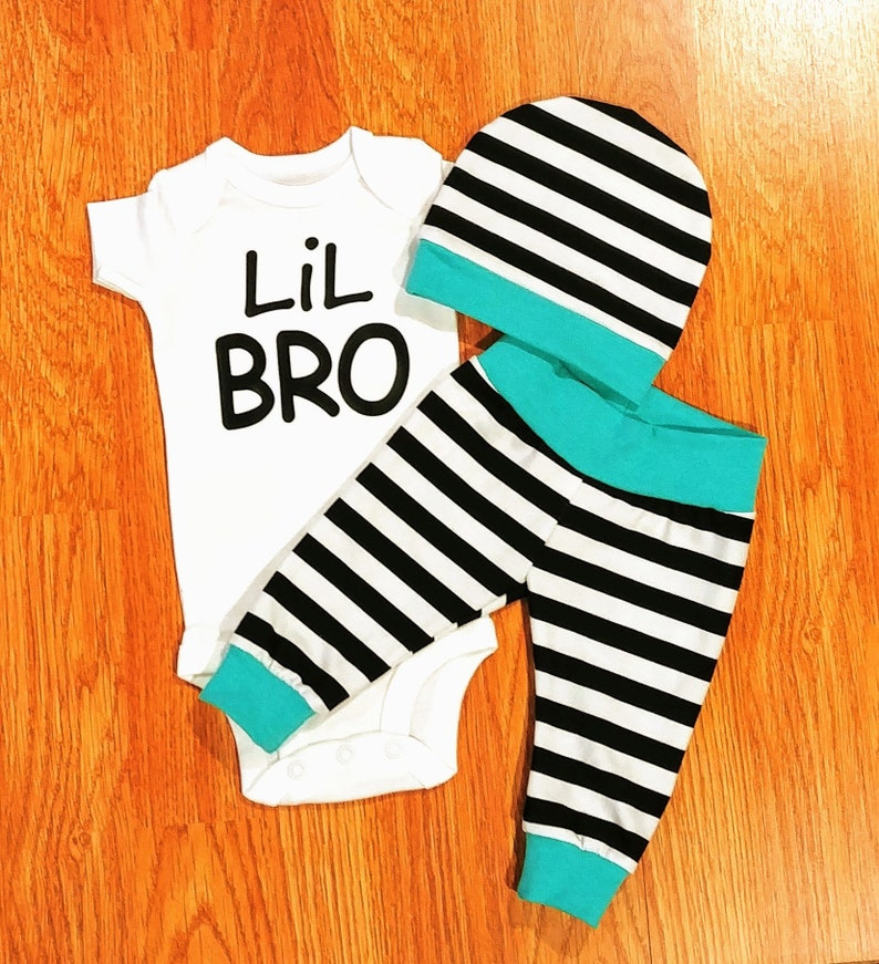 Baby Boy Going Home LiL BRO Outfit gift black white stripe turquoise siblings brother shirts little brother boy mom