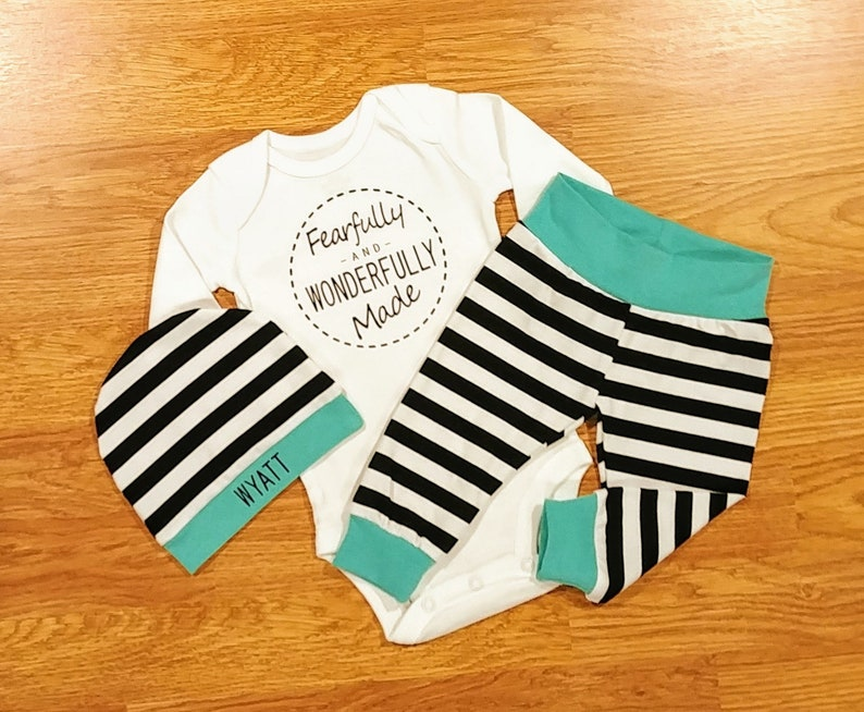 2089880e16f Baby Boy Going Home Fearfully AND WONDERFULLY Made Outfit