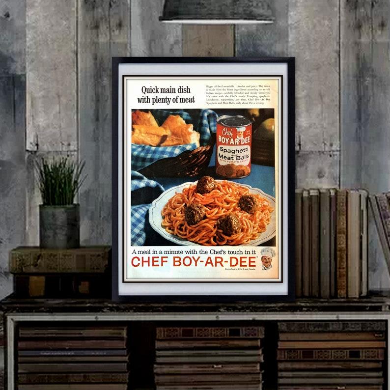 CHEF Boy-Ar-Dee ADs 1960s Del Monte Kraft Cheese Print Wall Art Kitchen  Decor CocaCola Advertisement CHOOSE ONE