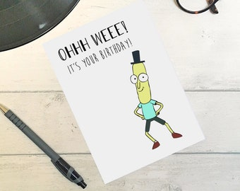 Rick and Morty Cartoon (Mr Poopy Butthole) Funny Birthday greetings Card / humour / banter / Ohhh Weee! / Butt Hole