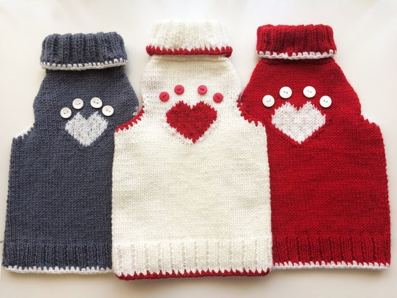 Heartpaw pattern jumper for cats Handmade knitting sweater ...