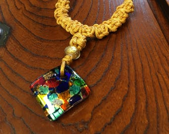 Murano Pressed Glass Pendant With Chinese Knotting