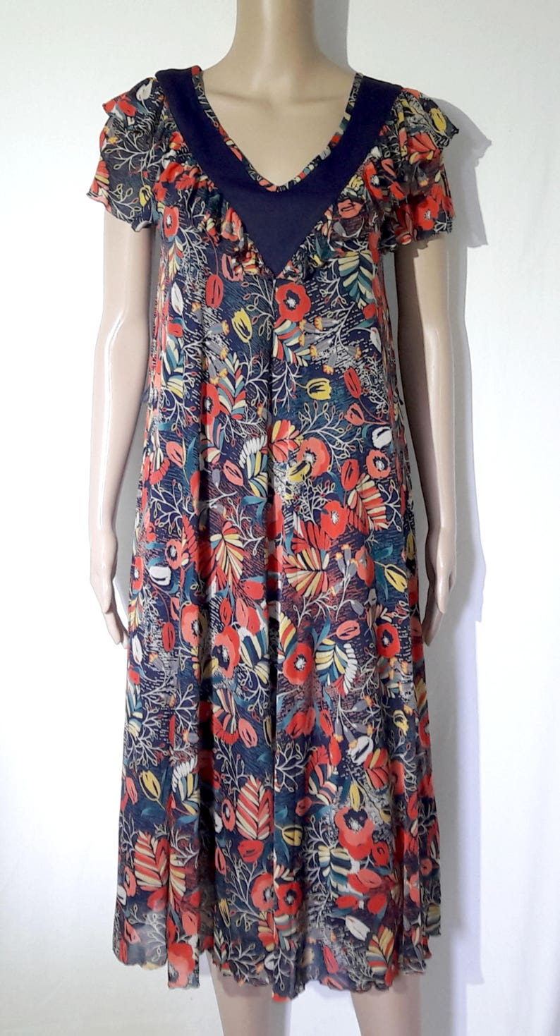 Dress vintage Virginia Paris made in France filed model blue lining
