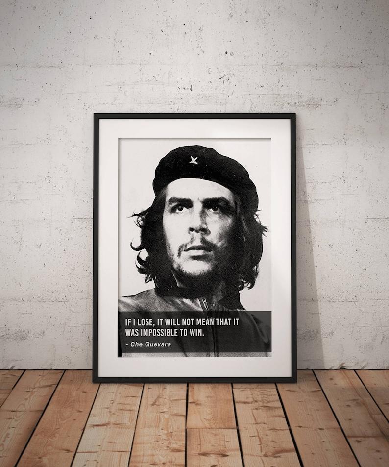 65b144e7d2 Che Guevara If I lose Quote Quote poster Typographic print