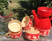 Vintage Red Plastic Doll Coffee Set for 4/Child Pretend Play Tea Set/Hopping Bunny Rabbit Decorative Kids Tableware/Easter/Midcentury/FSU