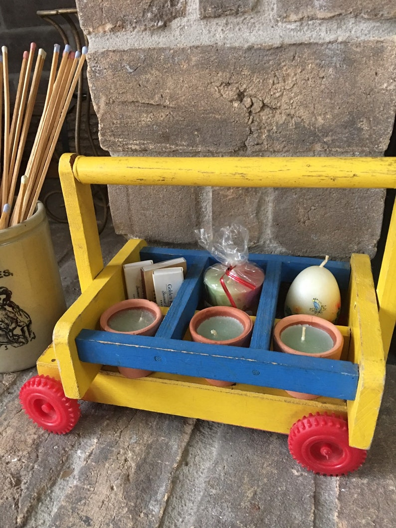 Enjoyable Vintage Toy Cart Hand Made Wooden Pull Wagon Doll Ride Child Play Toy Rustic Country Kitchen Decor Spice Rack Garden Plant Holder Download Free Architecture Designs Lectubocepmadebymaigaardcom