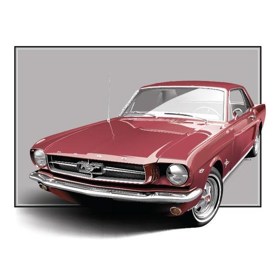 1964 Ford Mustang Kunst Digitale Auto Art Auto Zeichnung Etsy
