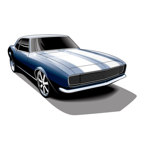 camaro z28 muscle car car drawing unique gift for men | etsy