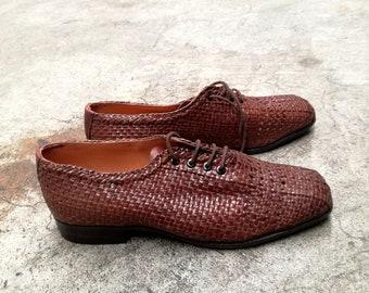 002bc73e4c7 Vintage Herenschoenen van dode inventaris gevlochten lederen kant schoenen