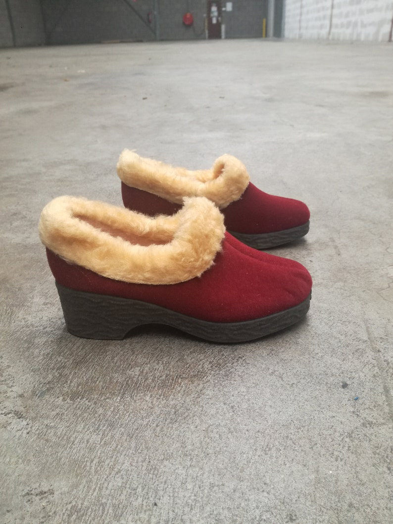 f30436654cb98 Deadstock vintage indoor slippers mules warm feet six 35 36 new old stock