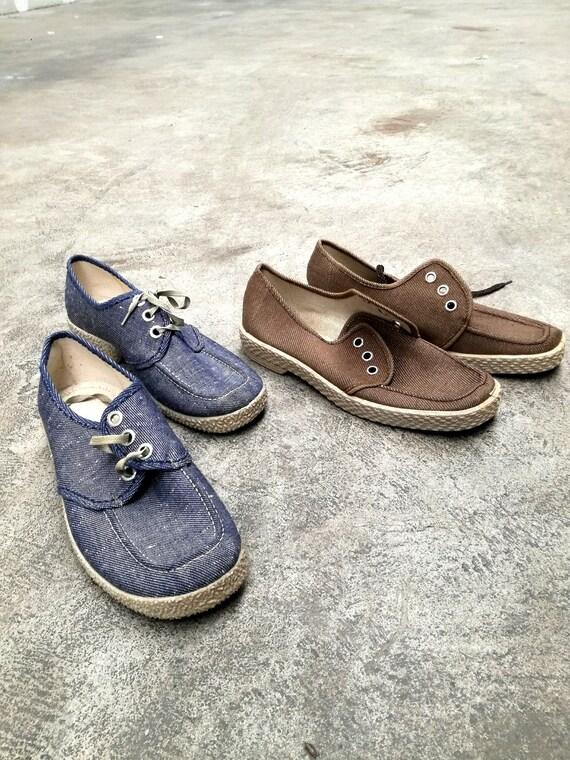 Deadstock vintage canvas shoes mens size 41 7 new