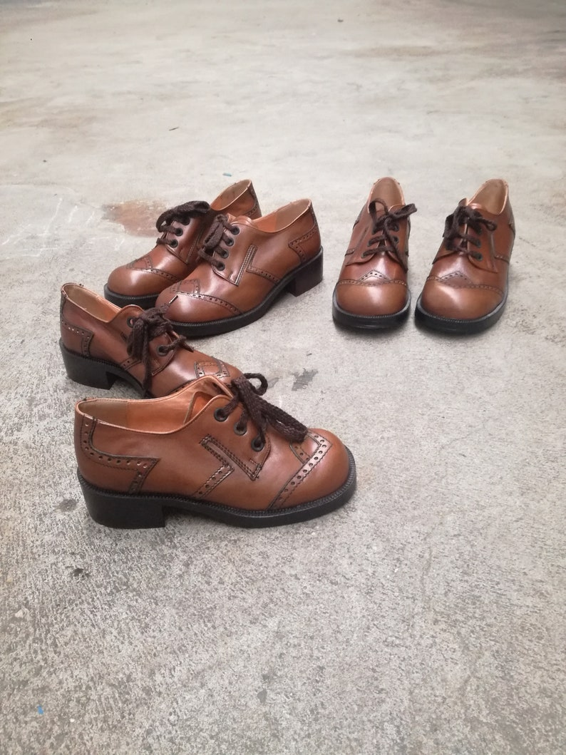 c2125446842fe Vintage Italian Leather lace up shoe's kids unworn new old stock nos  deadstock unisex 1960