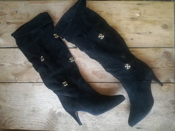 Vintage 80s 90s suede slough boots black boots slo