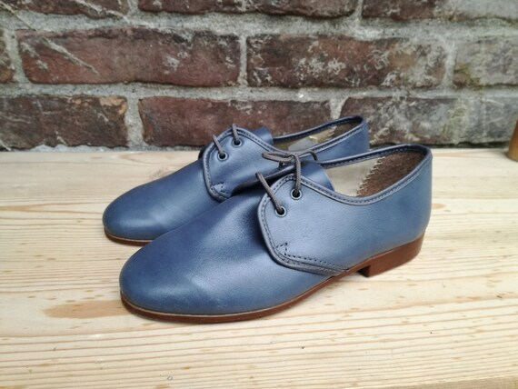 Vintage deadstock 60s kids lace shoes size 31 footwear new old stock leather shoes 60s 70s deadstock shoes