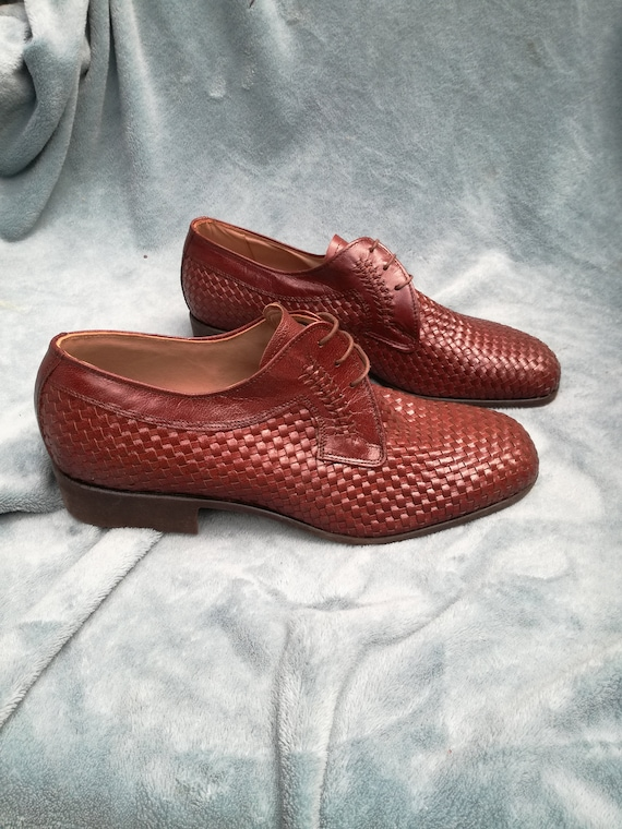 Deadstock vintage shoes braided leather lace shoes