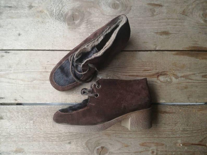 premium selection be3ee b3772 Vintage Fell Stiefel Spitze Schuhe 60er Jahre Gummi Wildleder Leder 50er  Jahre winter Stiefel