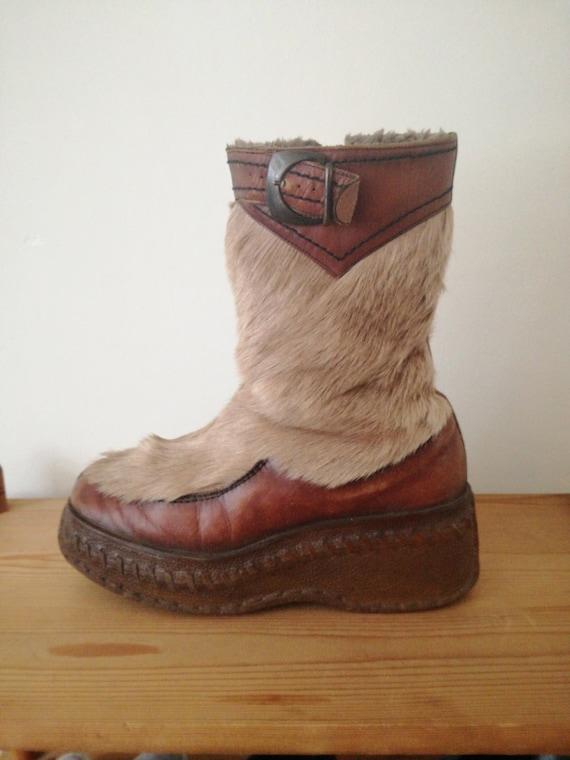 Vintage 60s platform goat fur boots rubber soles
