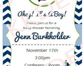 Baby Boy - Nautical themed - Shower invitation -DIGITAL FILE ONLY