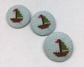 Sail Boat Cross Stitch Button Set of 3 Retro Kids