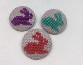 Handmade Cross Stitch Button Set of 3 Rabbits