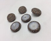 Handmade Fabric Covered Shank Buttons Set of 6 Winter Fabric