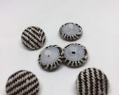 Handmade Fabric Covered Shank Buttons Set of 6