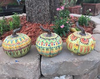 Painted pumpkin , henna style pumpkin , fall decor , hand painted pumpkin ...: