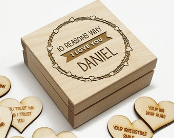 Boyfriend Gift 10 Reasons why I Love You Wooden Box and Hearts