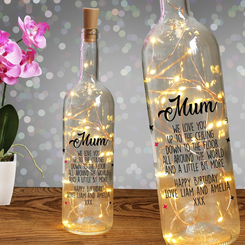 personalised light up bottle message quote gift for mum