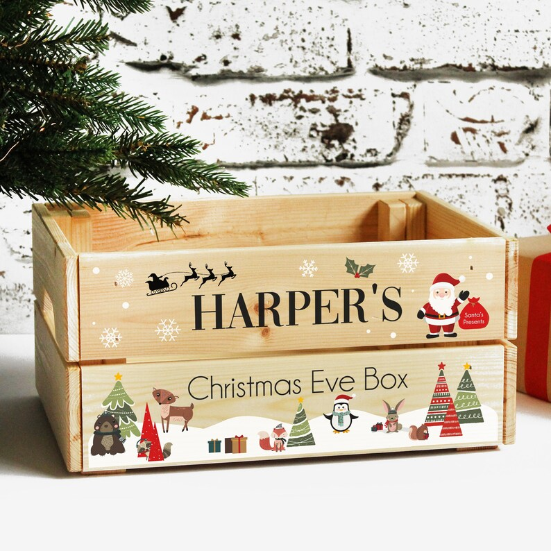Personalised Children's Christmas Eve Crate Wooden image 0