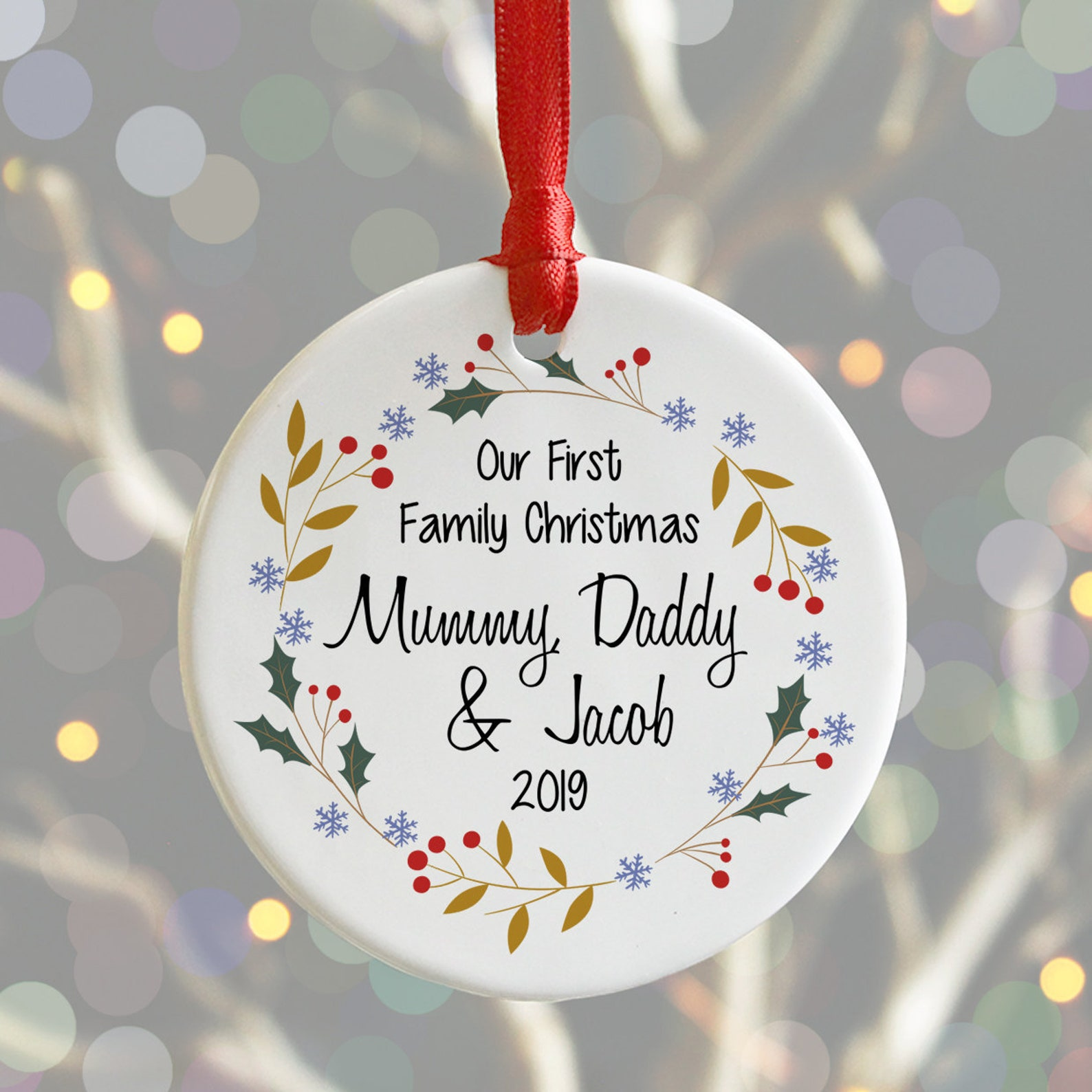 Personalised First Family Christmas Ceramic Bauble