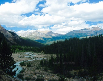 Beautiful Mountains   Canadian Rockies   Downloadable Landscape   Instant download
