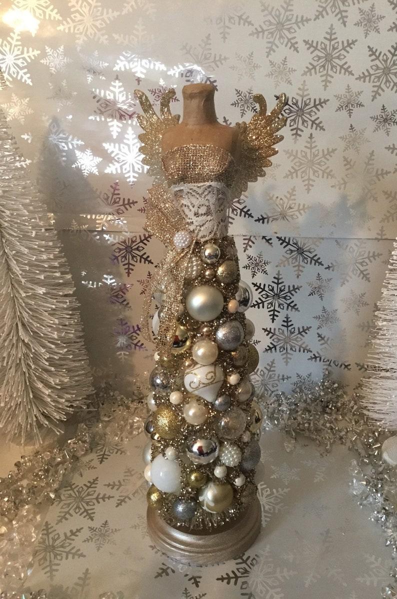 2de56b0a04d9b Shabby Chic Angel Bottlebrush Dress Form Christmas Tree | Etsy
