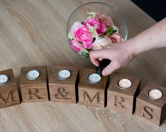 Mr and Mrs Home decor Wedding Gift for the couple Wooden Rustic  Candle Holder Gift the couple Candle Holders Decor cozy Home Gift for bride