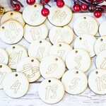 24 Advent Calendar Numbers Wood Stocking Christmas