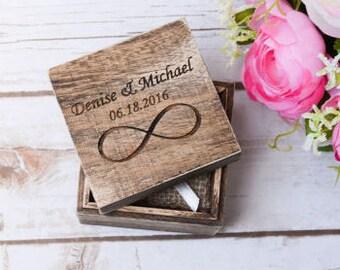 Wedding Ring Box Rustic Ring Holder Bearer Personalized Rustic Ring holder Infinity Ring Pillow Bearer Box