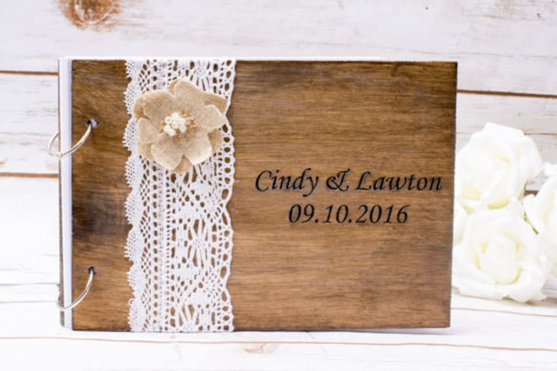 Wedding Guest Book wooden  Rustic Wedding Advice Book Vows image 0