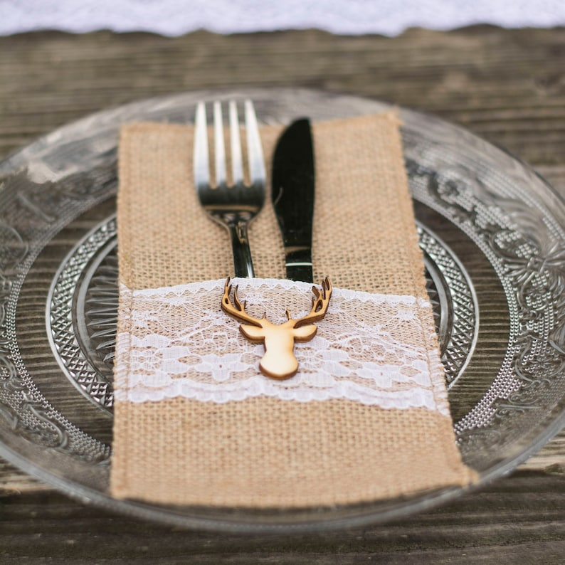 Cutlery Holder Wedding Burlap Rustic cutlery holders Buck Doe image 0