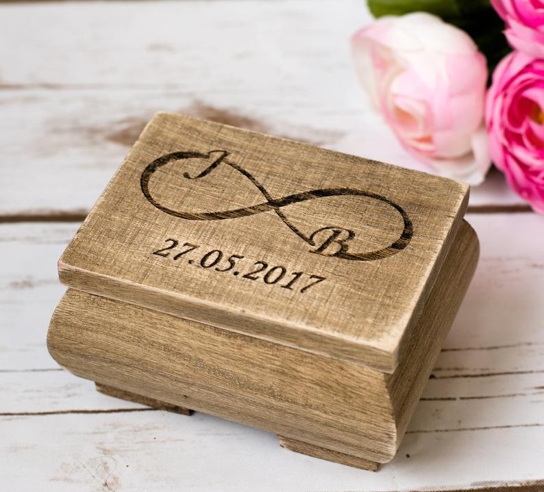 Wedding Ring Box Rustic Wedding Ring Holder Personalized image 0