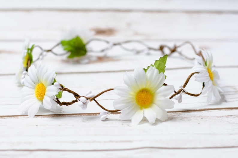 Rustic Wedding Daisy Hair Wreath hairband accessories white image 0