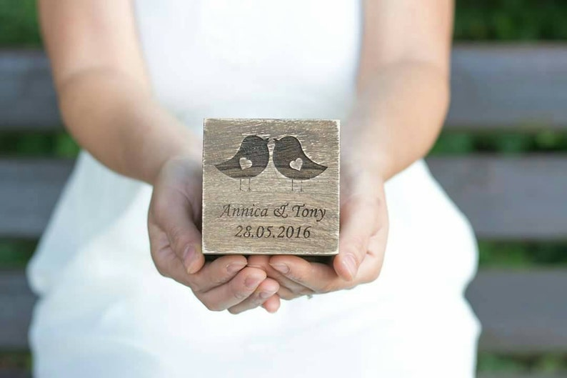 Wedding Ring Box Personalized Ring Box Love Birds Ring Rustic image 0