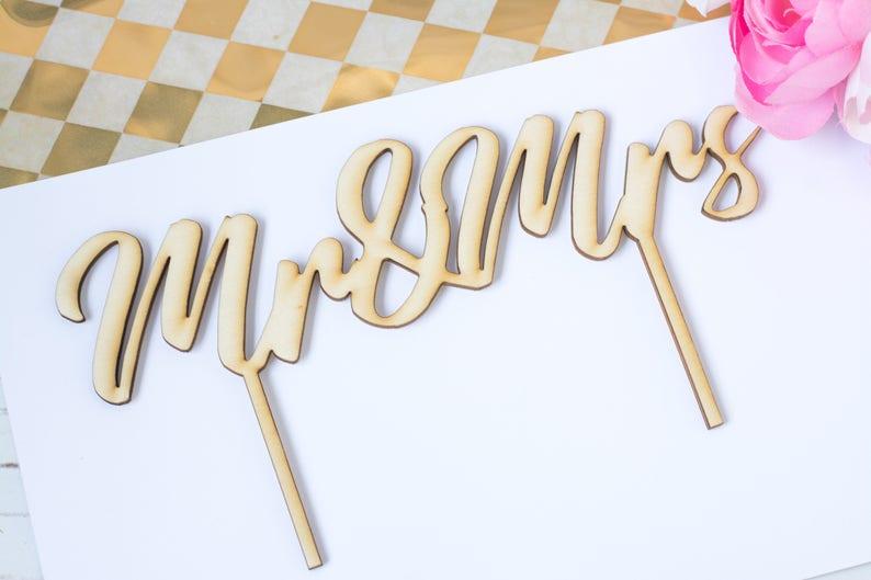 Mr Mrs Cake Topper Wedding Cake Topper Rustic Cake Topper image 0
