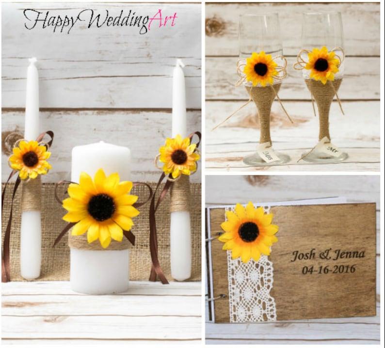 Guestbook Matrimonio Girasoli : Girasole wedding set di guestbook unità set candela matrimonio etsy