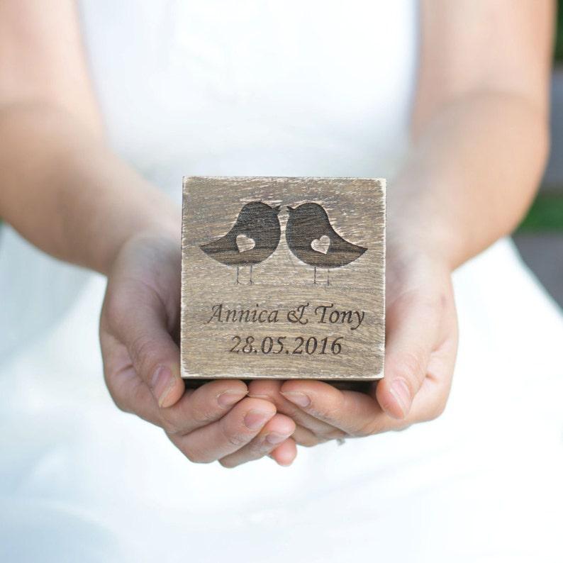 Wedding Ring Box Love Birds Ring Box Rustic Wedding Ring image 0