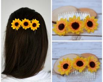 Flower Girl Hair Clip Comb Sunflower Hair Barrette Hair accessories Sunflower Clip Wedding