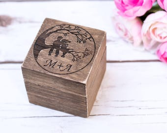 Wedding Ring Box  Bearer Personalzed wooden Sunflower wedding engraved Ring Holder Heart ring