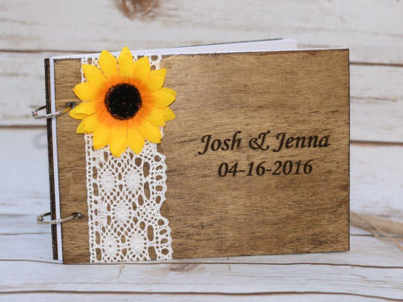 Sunflower Wedding Guest Book Rustic Guestbook Pen Wooden image 0