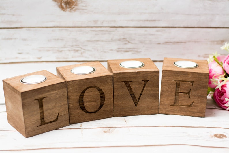Love Candle Holder Wood Love Sweet Table sign Decor Wedding image 0